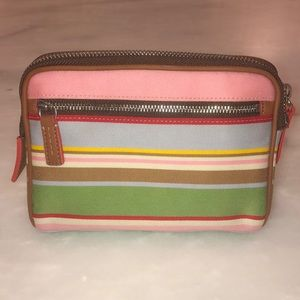 Colorful Coach Pastel Striped Cosmetic Bag
